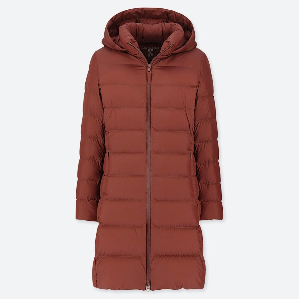 <p>Need an investment piece? This <span>Uniqlo Ultra Light Down Hooded Coat</span> ($60, originally $90) will keep on giving.</p>