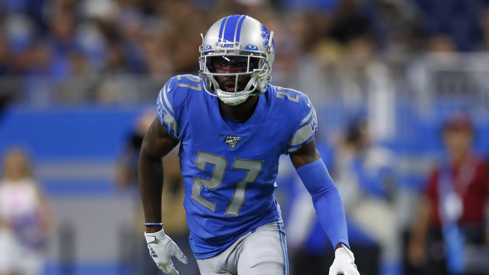 Detroit Lions cornerback Justin Coleman plays against the New York Giants during an NFL football game in Detroit, Sunday, Oct. 27, 2019. (AP Photo/Paul Sancya)