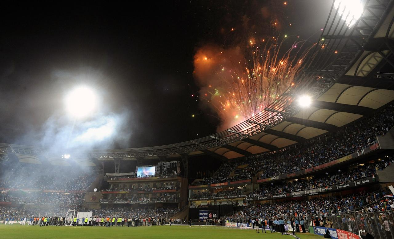 Fireworks erupt during the awards ceremony following the ICC Cricket world Cup final match between India and Sri Lanka at The Wankhede Stadium in Mumbai on April 2, 2011. India defeated Sri Lanka by six wickets to win the 2011 World Cup. AFP PHOTO / Prakash SINGH (Photo credit should read PRAKASH SINGH/AFP/Getty Images)