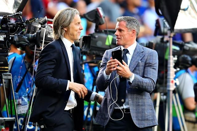 Liverpool legend Jamie Carragher talks before the UEFA Champions League Final (Photo by Chris Brunskill/Fantasista/Getty Images)
