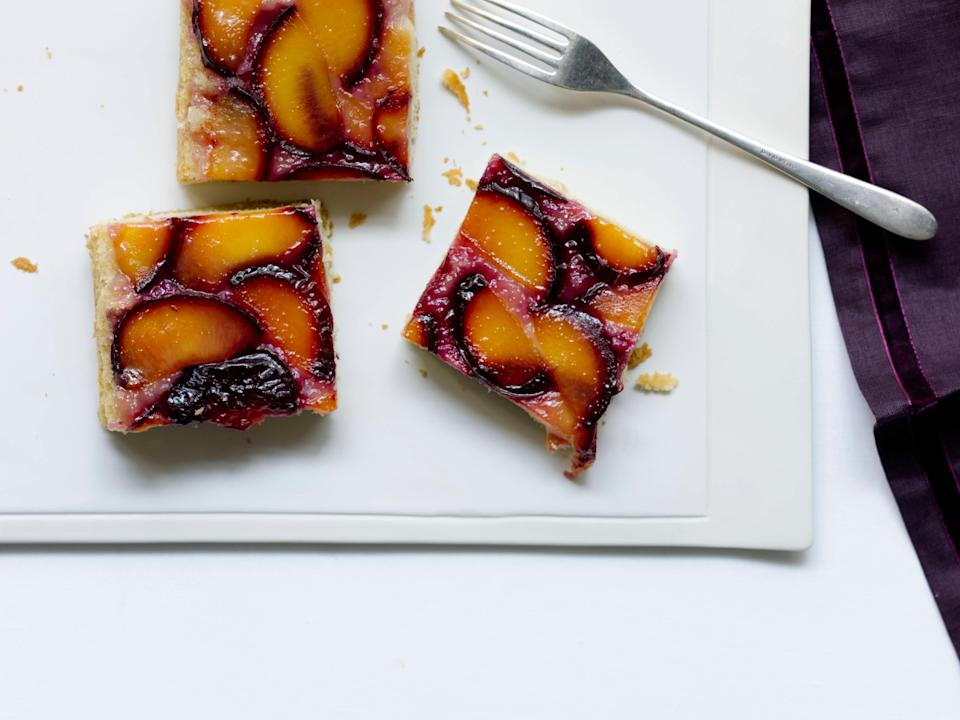 """A bit of Greek yogurt in the batter makes this cake extra moist and tender. <a href=""""https://www.epicurious.com/recipes/food/views/plum-kuchen-354489?mbid=synd_yahoo_rss"""" rel=""""nofollow noopener"""" target=""""_blank"""" data-ylk=""""slk:See recipe."""" class=""""link rapid-noclick-resp"""">See recipe.</a>"""