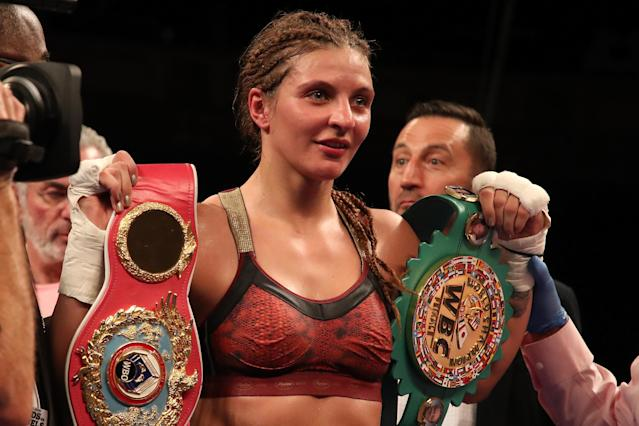 Christina Hammer will defend her WBC and WBO world middleweight belts on Nov. 17 in Atlantic City in a unification bout with IBF-WBA champion Claressa Shields. (Getty Images)