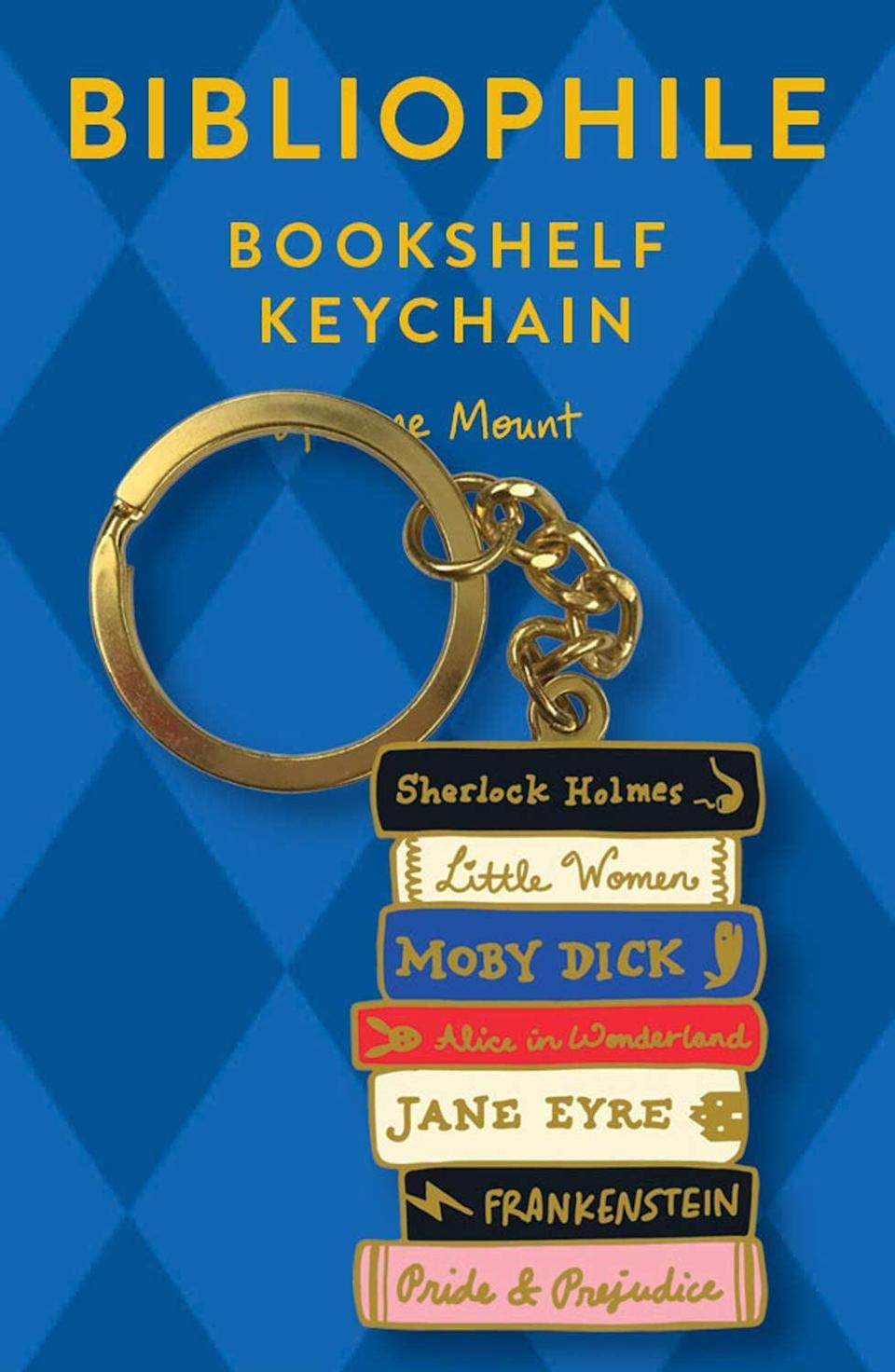 <p>They can use this <span>Bibliophile Bookshelf Keychain</span> ($15) to hold their new keys!</p>