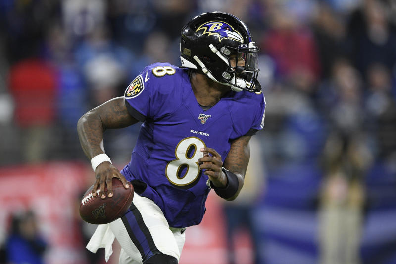 "Reigning NFL MVP Lamar Jackson appeared to avoid the ""Madden curse"" in our simulation. (AP Photo/Nick Wass)"