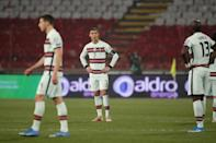 Cristiano Ronaldo, centre, was left furious after his last-minute winner was ruled out despite appearing to cross the line