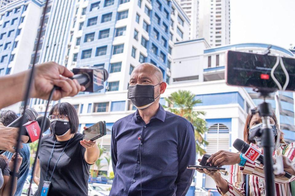 Kepong MP Lim Lip Eng addresses reporters in front of the Dang Wangi district police headquarters in Kuala Lumpur August 4, 2021. — Picture by Shafwan Zaidon