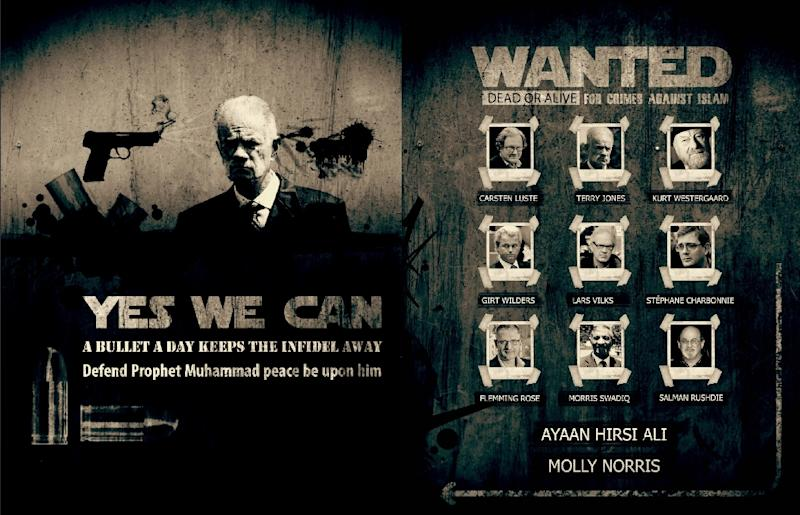 """A 2013 poster from al-Qaeda's online Inspire magazine, lists 11 figures """"wanted dead or alive for crimes against Islam"""" including Geert Wilders (AFP Photo/-)"""