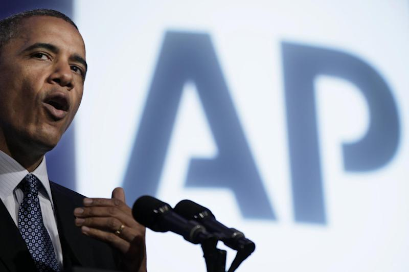 President Barack Obama speaks at The Associated Press luncheon during the ASNE Convention, Tuesday, April 3, 2012, in Washington. (AP Photo/Carolyn Kaster)