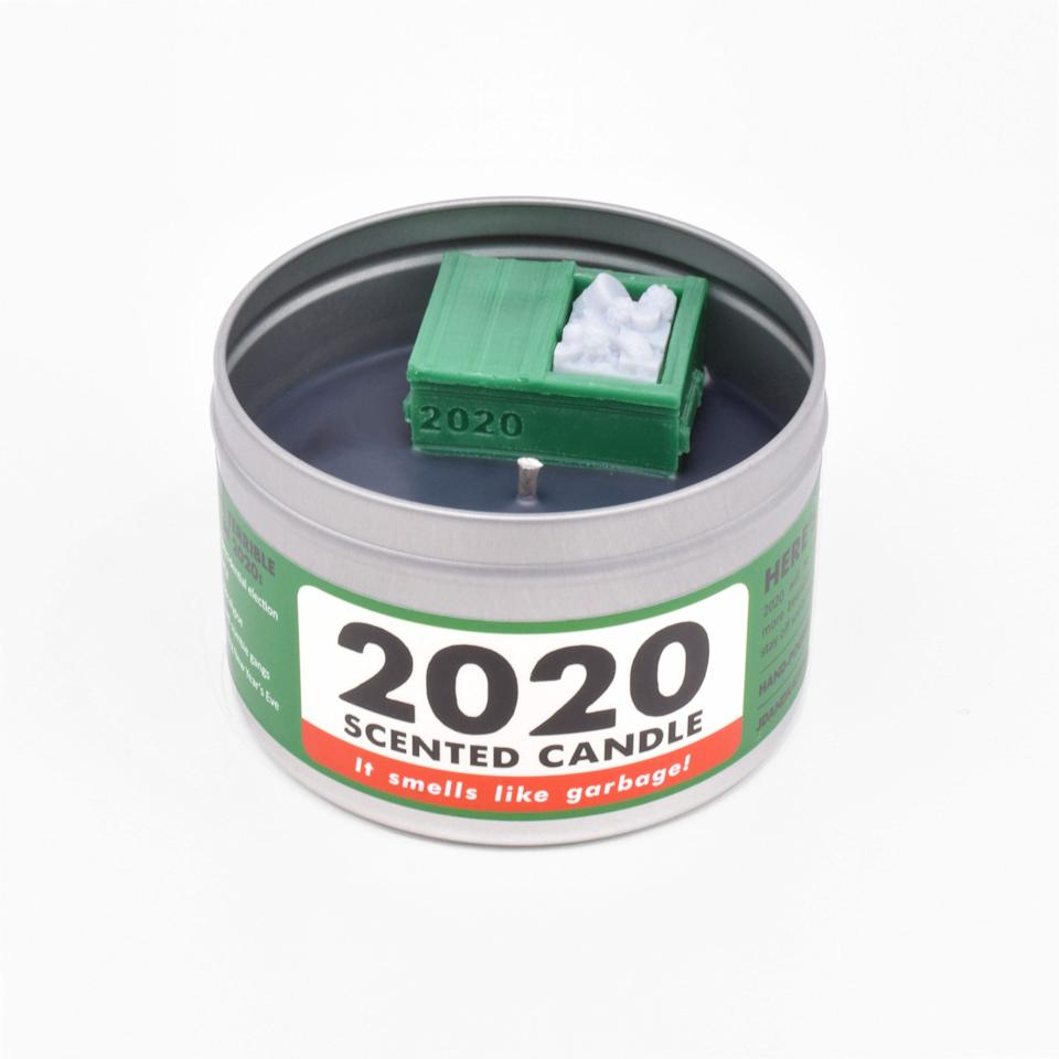 """Most people won't deny that 2020 has really stunk. So why not honor that with a <a href=""""https://jdandkateindustries.com/collections/all/products/2020"""" target=""""_blank"""" rel=""""noopener noreferrer"""">candle that smells like the dumpster fire this year has been.</a>"""