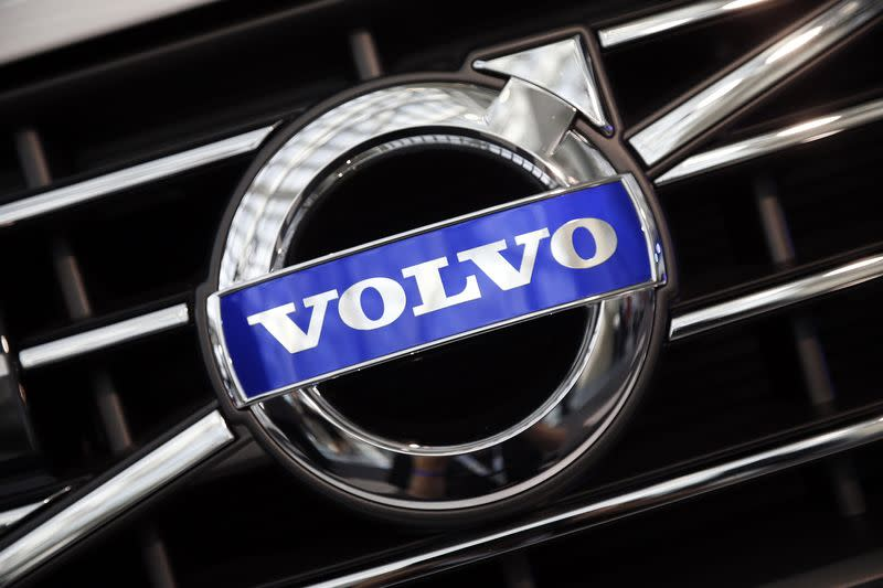 A Volvo logo is seen during preparations for the 2014 LA Auto Show in Los Angeles