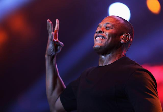 LOS ANGELES, CA - JUNE 29: Rapper Dr. Dre performs during the Snoop Dogg, Kendrick Lamar, J.Cole, Miguel and SchoolBoyQ concert during the 2013 BET Experience at Staples Center on June 29, 2013 in Los Angeles, California. (Photo by Chelsea Lauren/Getty Images for BET)