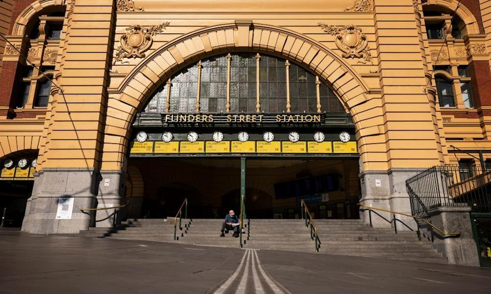 Melbourne's Flinders Street Station during the city's lengthy lockdown.