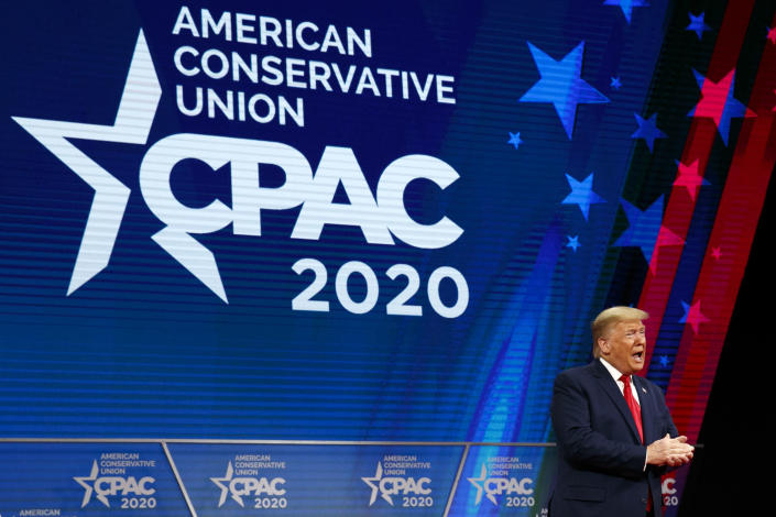 FILE - In this Feb. 29, 2020 file photo, President Donald Trump arrives to the Conservative Political Action Conference, CPAC 2020, at National Harbor, in Oxon Hill, Md. (AP Photo/Jacquelyn Martin)