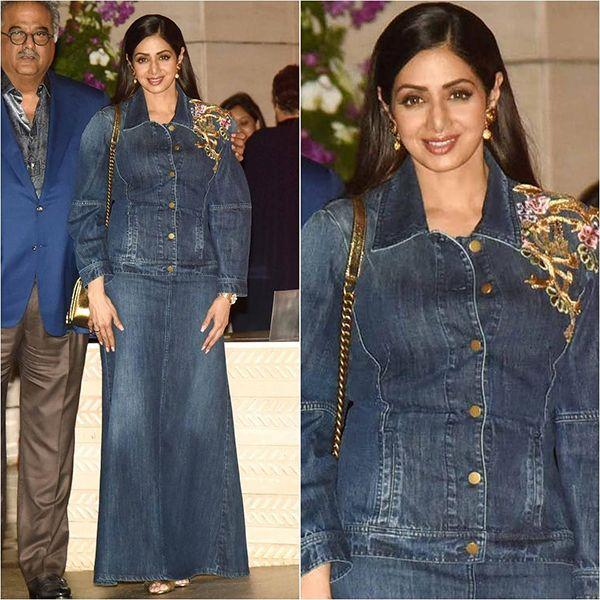 <p>Denim-on-denim gone so wrong! During a bash hosted by the Ambanis, Sridevi was seen donning this atrocious outfit. The ill fitted attire doesn't compliment her body type landing her into the worst dressed category. </p>