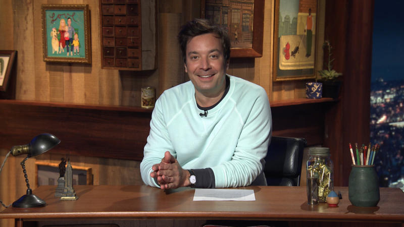 THE TONIGHT SHOW STARRING JIMMY FALLON -- Episode 1292A -- Pictured in this screengrab: Host Jimmy Fallon arrives at his desk on July 20, 2020 -- (Photo by: NBC/NBCU Photo Bank via Getty Images)