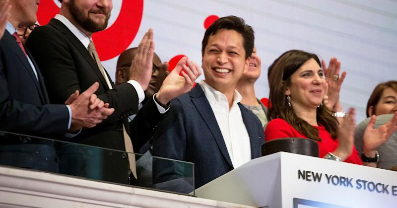 Ben Silbermann, co-founder and chief executive officer of Pinterest Inc., center, rings the opening bell on the floor on the New York Stock Exchange during the company's initial public offering (IPO) in New York, on Thursday, April 18, 2019.