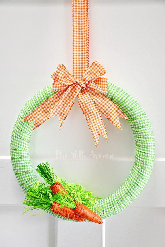 """<p>With a few yards of gingham ribbon and a simple wreath form, you'll be looking at this carrot-colored wreath in less than one hour. It's as easy to make as it is adorable.</p><p><strong>Get the tutorial at <a href=""""http://www.the36thavenue.com/wreath-tutorial-easter-decor/"""" rel=""""nofollow noopener"""" target=""""_blank"""" data-ylk=""""slk:The 36th Avenue"""" class=""""link rapid-noclick-resp"""">The 36th Avenue</a>.</strong></p><p><a class=""""link rapid-noclick-resp"""" href=""""https://www.amazon.com/Gingham-Check-Wired-Ribbon-Emerald/dp/B079HCTHMT?tag=syn-yahoo-20&ascsubtag=%5Bartid%7C10050.g.4088%5Bsrc%7Cyahoo-us"""" rel=""""nofollow noopener"""" target=""""_blank"""" data-ylk=""""slk:SHOP GINGHAM RIBBON"""">SHOP GINGHAM RIBBON </a></p>"""