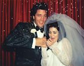 """<p>Priscilla and Elvis Presley react to celebratory rice being thrown after their Las Vegas wedding in 1967. The couple held a very small ceremony at the Aladdin hotel in Las Vegas, only a few hours after <a href=""""https://www.vogue.com/article/wedding-elvis-presley-priscilla-presley"""" rel=""""nofollow noopener"""" target=""""_blank"""" data-ylk=""""slk:registering for their marriage license"""" class=""""link rapid-noclick-resp"""">registering for their marriage license</a> to avoid fanfare. </p>"""