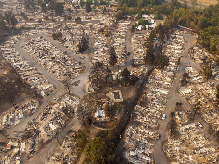 Aerial view of a mobile home park destroyed by fire in Phoenix, Ore. (David Ryder/Getty Images)