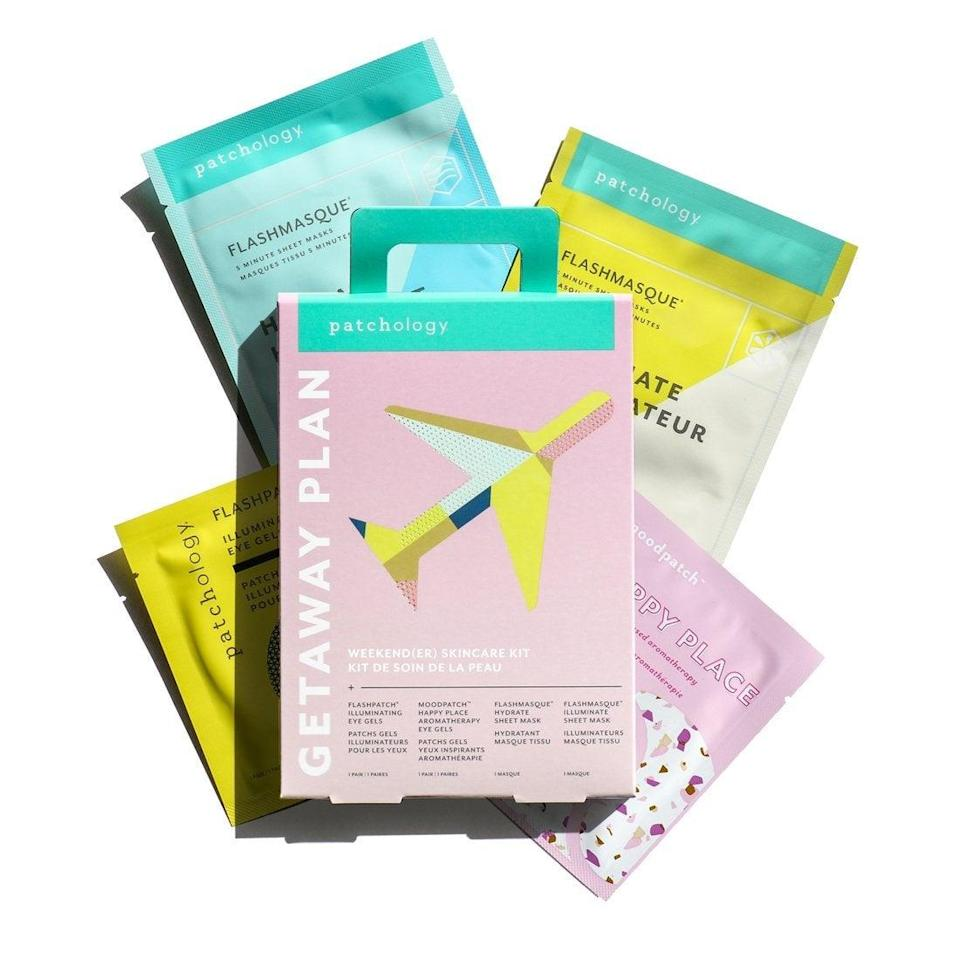 """<h2>Patchology Getaway Plan Mask Kit </h2><br>This mask pack comes filled with a strong lineup of moisturizing patches for eyes, lips, and face that are designed to rejuvenate, soothe, de-puff, hydrate, and illuminate travel-weary skin.<br><br><em>Shop</em> <strong><em><a href=""""https://www.patchology.com/"""" rel=""""nofollow noopener"""" target=""""_blank"""" data-ylk=""""slk:Patchology"""" class=""""link rapid-noclick-resp"""">Patchology</a></em></strong><br><br><strong>Patchology</strong> Getaway Plan Kit, $, available at <a href=""""https://go.skimresources.com/?id=30283X879131&url=https%3A%2F%2Fwww.patchology.com%2Fproducts%2Fgetaway-plan-kit"""" rel=""""nofollow noopener"""" target=""""_blank"""" data-ylk=""""slk:Patchology"""" class=""""link rapid-noclick-resp"""">Patchology</a>"""