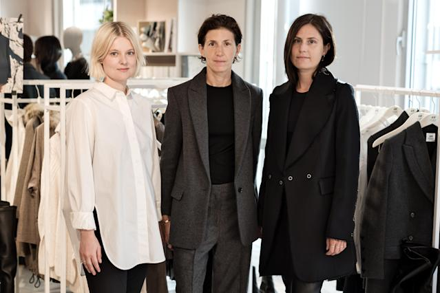 From left, Emily Johansson, H&M designer, H&M Studio; Ludivine Poiblanc, creative adviser and stylist; Angelica Grimborg, H&M designer, H&M Studio, all wearing clothing from H&M Studio AW17. (Photo: Courtesy of H&M)