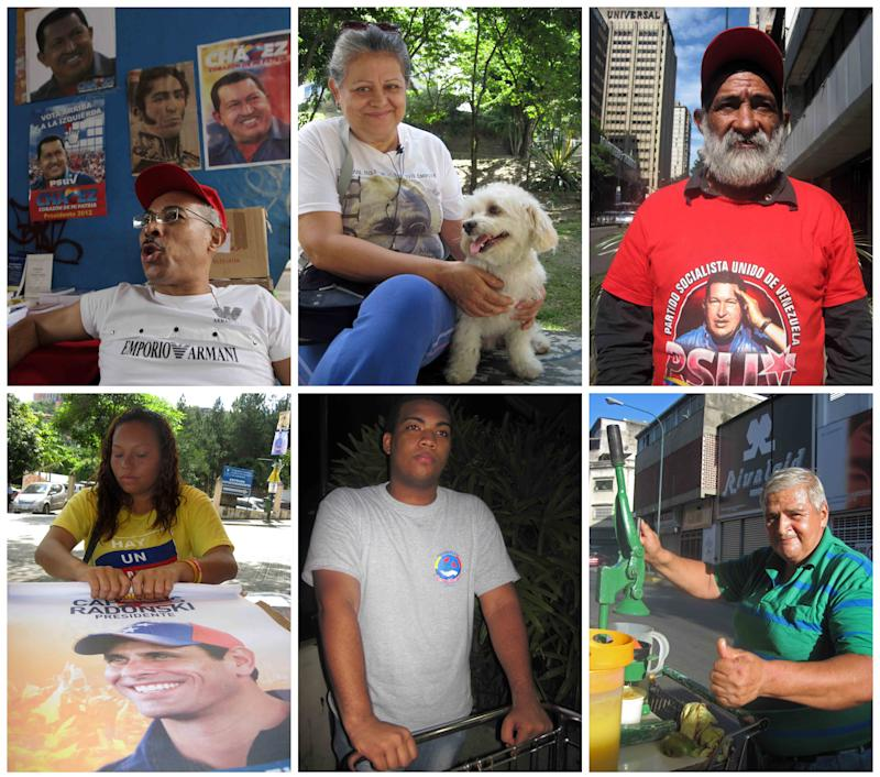 This combo of six Oct. 2012 photos shows six voters in Caracas, Venezuela. On the streets of Venezuela's capital, six people explain their choices to vote for either President Hugo Chavez or his challenger Henrique Capriles on Sunday.  Top row, from left to right, are Gustavo Chourio, Yoalda Molina and Carlos Riera. Bottom row, from left to right, are Marly Velasquez, Omar Cruz and Jorge Rueda. (AP Photo/Chris Toothaker, Fernando Llano)