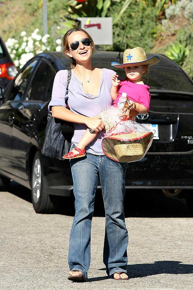 "Tobey Maguire's wife Jennifer Meyer brought their daughter Ruby. Her cute cowgirl hat was perfect for the party's Western theme. LAX-Mariotto/<a href=""http://www.x17online.com"" target=""new"">X17 Online</a> - October 19, 2008"