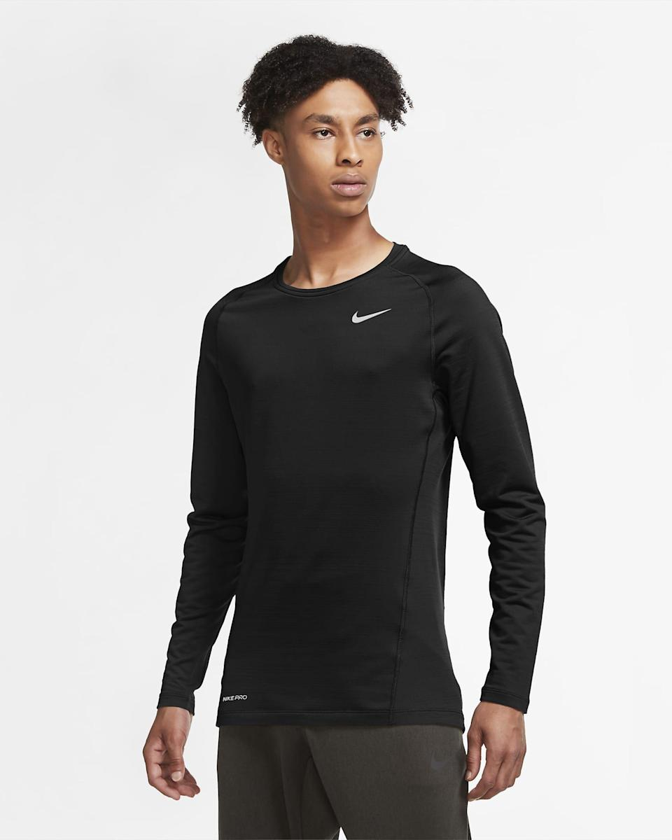"""<p><strong>nike</strong></p><p>nike.com</p><p><strong>$50.00</strong></p><p><a href=""""https://go.redirectingat.com?id=74968X1596630&url=https%3A%2F%2Fwww.nike.com%2Ft%2Fpro-warm-mens-long-sleeve-top-dpqzqK&sref=https%3A%2F%2Fwww.menshealth.com%2Fstyle%2Fg25171257%2Fbest-thermal-shirts-for-men%2F"""" rel=""""nofollow noopener"""" target=""""_blank"""" data-ylk=""""slk:BUY IT HERE"""" class=""""link rapid-noclick-resp"""">BUY IT HERE</a></p><p>Flexible fabric moves with you in this Nike thermal shirt, so you can focus on performance and not your outfit. Sweat-wicking fabric ensures you stay dry and comfortable. This is our pick for one of the best thermals for serious activity, because fitness doesn't take seasons off.</p>"""