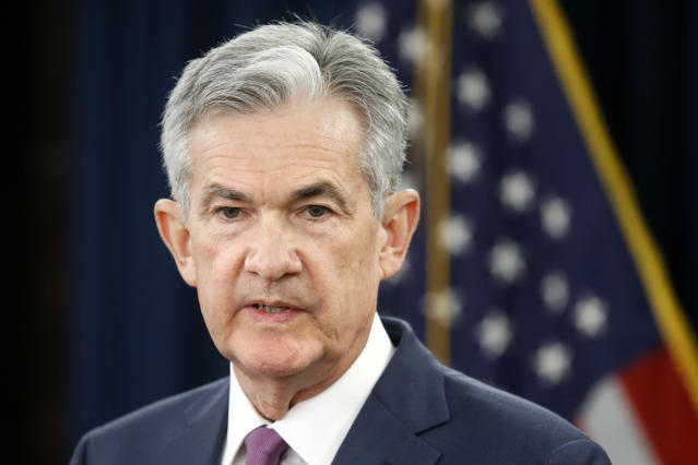 Federal Reserve Chair Jerome Powell speaks to the media after the Federal Open Market Committee meeting in Washington on June 13, 2018. Powell will speak at the annual Jackson Hole economic policy symposium on Friday, his first speech at the annual gathering of economists and policymakers since being named Federal Reserve chair.