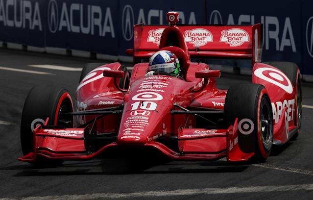 TORONTO, ON - JULY 08: Dario Franchitti of Scotland, drives the #10 Target Chip Ganassi Racing Honda during the IZOD INDYCAR Series Honda Indy Toronto on July 8, 2012 in Toronto, Canada. (Photo by Nick Laham/Getty Images)