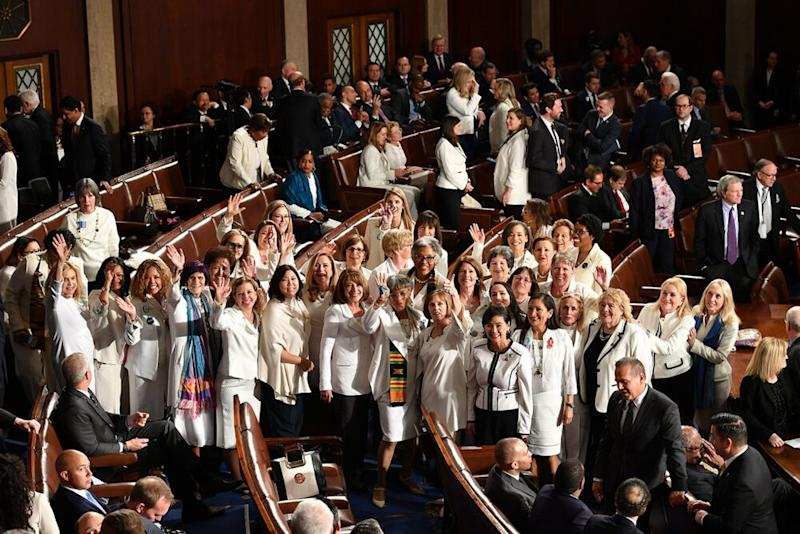 Female lawmakers at President Donald Trump's State of the Union on Tuesday | MANDEL NGAN/Getty Images