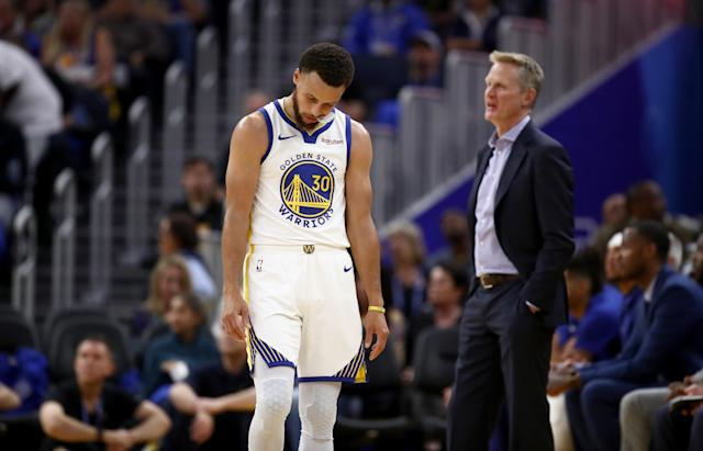 Things didn't go well for Stephen Curry and the Warriors on Thursday night. (Photo by Ezra Shaw/Getty Images)