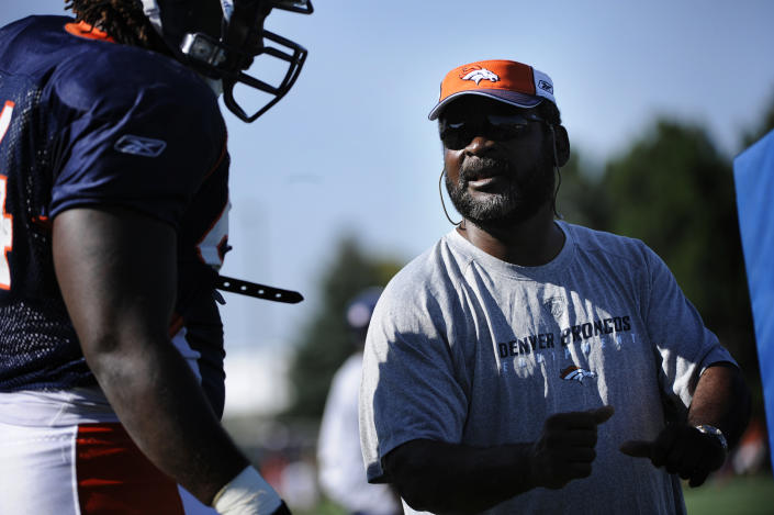 New Broncos defensive line coach Wayne Nunnely during training camp at Dove Valley. Joe Amon / The Denver Post  (Photo By Joe Amon/The Denver Post via Getty Images)
