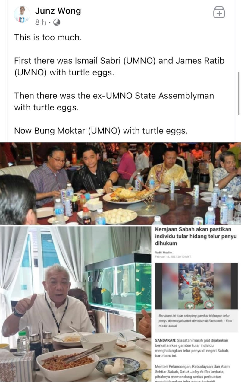 Tanjung Aru assemblyman Datuk Junz Wong uploaded a photo of Bung, dining with a companion in what looked like a home setting, with turtle eggs served on a plate. ― Picture from Facebook/Junz Wong