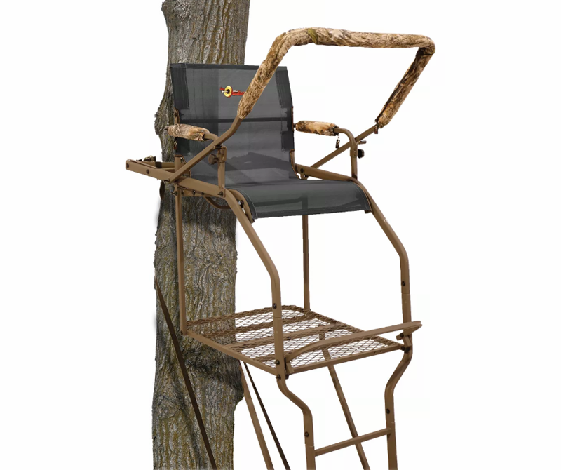 """<p><strong>API</strong></p><p>basspro.com</p><p><strong>$249.99</strong></p><p><a href=""""https://go.redirectingat.com?id=74968X1596630&url=https%3A%2F%2Fwww.basspro.com%2Fshop%2Fen%2Fapi-outdoors-ultra-steel-extreme-20-ladder-stand-100278529&sref=https%3A%2F%2Fwww.popularmechanics.com%2Fadventure%2Foutdoor-gear%2Fg35567198%2Fhunting-gear%2F"""" rel=""""nofollow noopener"""" target=""""_blank"""" data-ylk=""""slk:Buy Now"""" class=""""link rapid-noclick-resp"""">Buy Now</a></p><p>You can tag deer from the ground, no doubt. But treestands offer a clear advantage stealth-wise by elevating hunters above an animal's line of sight. If you're new to treestands, or maybe less nimble than you once were, consider a ladder stand, like the 20-foot Ultra-Steel Extreme. It's reasonably priced, comfortable, and about as safe as treestands come.</p>"""