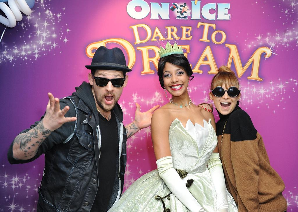 Celebrities attend 'Disney on Ice presents Dare to Dream' at Staples Center, LA. Stars including Nicole Richie and Joel Madden, Eric Dane and Rebecca Gayheart and Tim Allen donated diapers to Baby Buggy, benefiting LA families in need, and had chance to meet Disney princesses Tiana and Cinderella after the show.