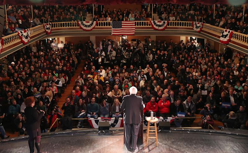 ROCHESTER, NEW HAMPSHIRE - FEBRUARY 08: : Democratic presidential candidate Sen. Bernie Sanders (I-VT) speaks during a Town Hall held at the Rochester Opera House on February 08, 2020 in Rochester, New Hampshire. Mr. Sanders is campaigning before the primary on February 11. (Photo by Joe Raedle/Getty Images)