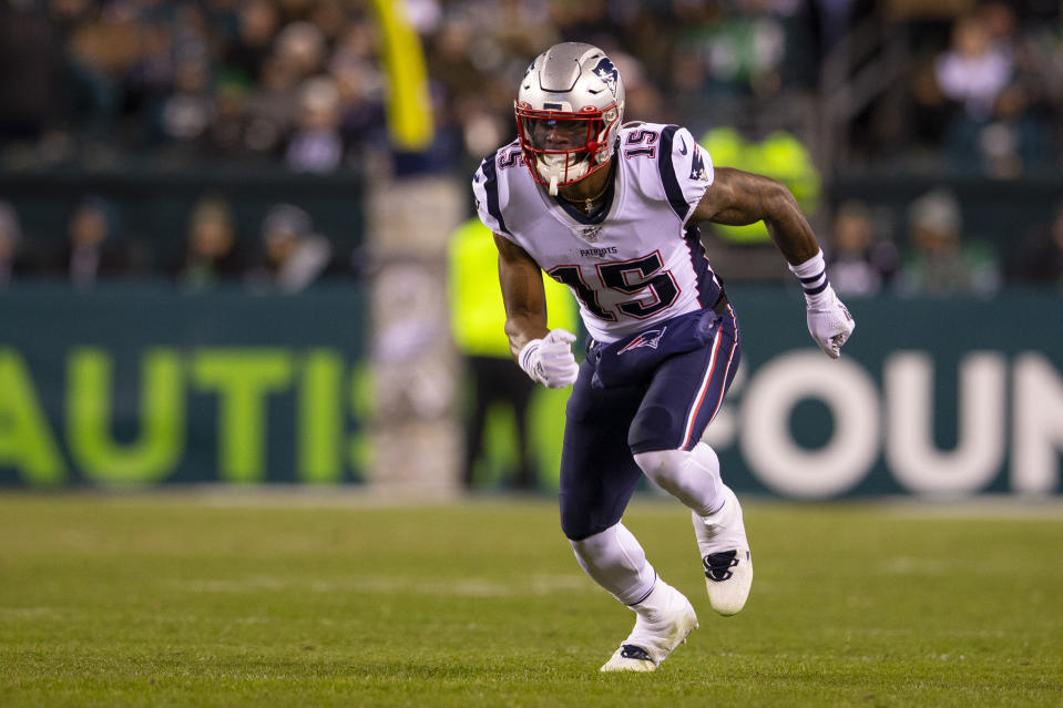 N'Keal Harry made his Pats debut Sunday against Philadelphia. (Photo by Mitchell Leff/Getty Images)