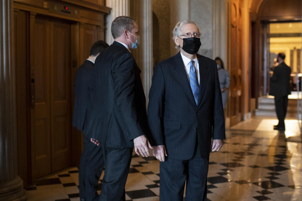UNITED STATES - SEPTEMBER 16: Senate Majority Leader Mitch McConnell, R-Ky., departs from the Senate Floor after a vote on Wednesday, Sept. 16, 2020. (Photo by Caroline Brehman/CQ-Roll Call, Inc via Getty Images)