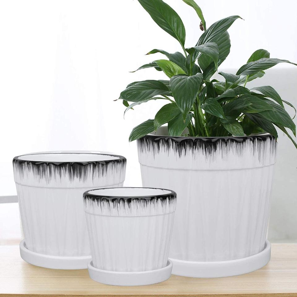 <p>If you are a plant parent, stock up on these <span>Ufrount Ceramic Planter Pot with Drainage Holes Set of 3 (White)</span> ($10, originally $16) for the spring and summer.</p>