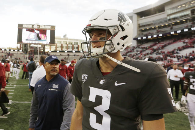 Washington State quarterback Tyler Hilinski (3) walks on the field after an NCAA college football game against Nevada in Pullman, Wash., Saturday, Sept. 23, 2017. (AP Photo/Young Kwak)