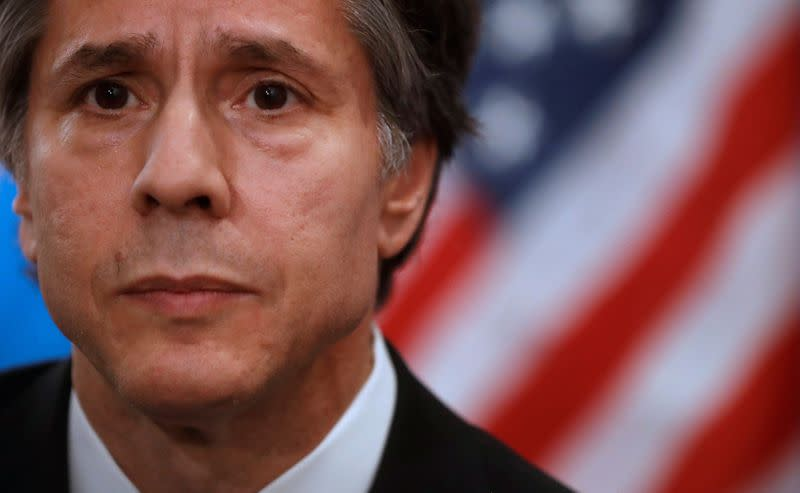 FILE PHOTO: US Deputy Secretary of State Blinken attends an interview with Reuters in Paris