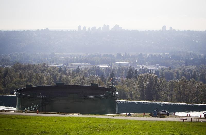 Storage tanks, holding crude and refined oil, at the Kinder Morgan tank farm are pictured in Burnaby