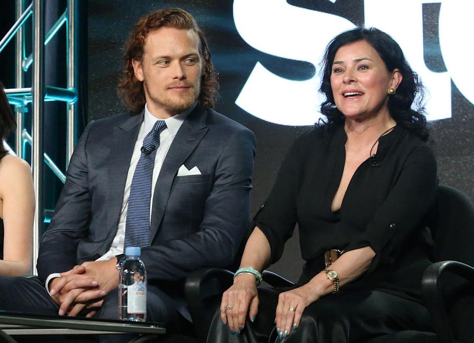 """<p>Before she saw Heughan's audition tape, Gabaldon looked up his IMdB. Her reaction to his photos? <a href=""""https://www.list.co.uk/article/76660-interview-diana-gabaldon-on-sam-heughan-i-was-sitting-there-typing-this-man-is-grotesque-what-are-you-thinking/"""" rel=""""nofollow noopener"""" target=""""_blank"""" data-ylk=""""slk:&quot;This man is grotesque,&quot;"""" class=""""link rapid-noclick-resp"""">""""This man is grotesque,""""</a> which has now become a running joke between the two.</p>"""