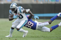 Buffalo Bills defensive back Levi Wallace (39) tackles Carolina Panthers wide receiver Curtis Samuel (10) during the first half an NFL preseason football game, Friday, Aug. 16, 2019, in Charlotte, N.C. (AP Photo/Mike McCarn)