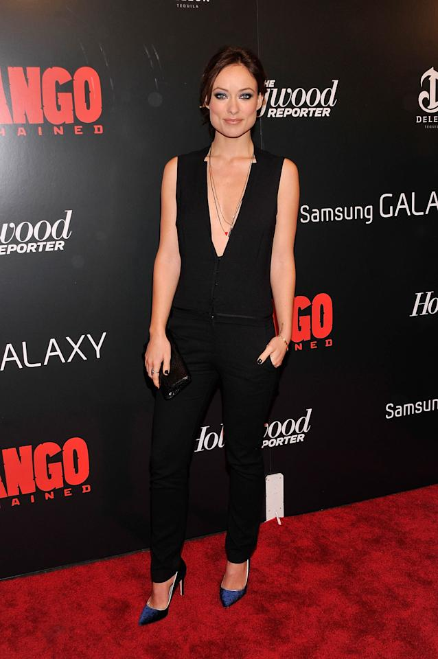"NEW YORK, NY - DECEMBER 11:  Olivia Wilde attends a screening of ""Django Unchained"" hosted by The Weinstein Company with The Hollywood Reporter, Samsung Galaxy and The Cinema Society at Ziegfeld Theater on December 11, 2012 in New York City.  (Photo by Stephen Lovekin/Getty Images)"