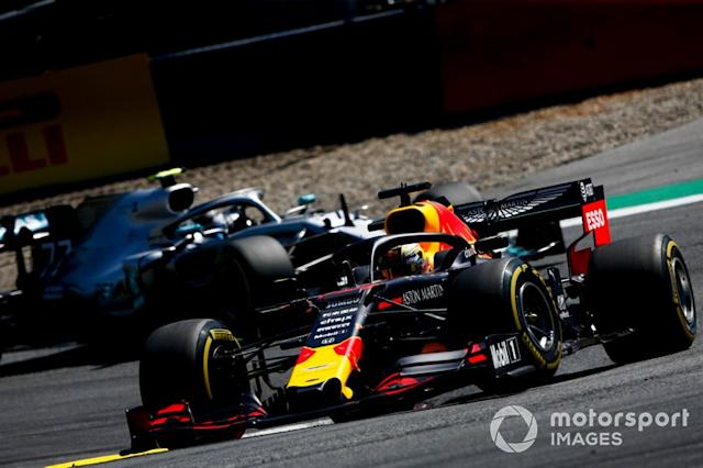 "Max Verstappen, Red Bull Racing RB15, leads Valtteri Bottas, Mercedes AMG W10 <span class=""copyright"">Andrew Hone / Motorsport Images</span>"
