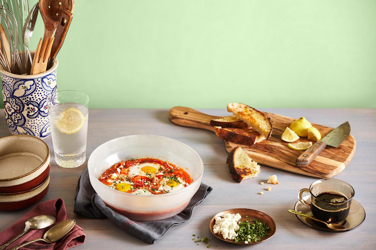 This shakshuka was cooked in the microwave for 6 minutes. (Nader Khouri / Anyday)