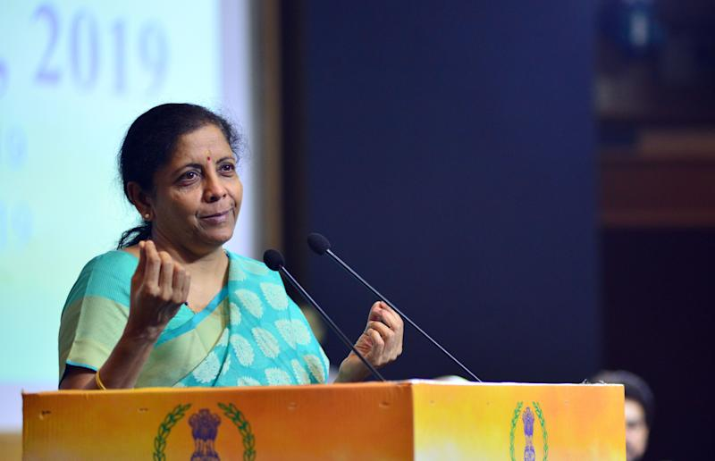 GHAZIABAD, INDIA JULY 23, 2019: Union Minister of Finance Nirmala Sitharaman speaking at the Income Tax day celebrations.
