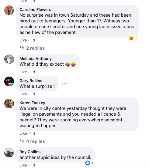 Some residents in Coventry spoke of their experiences of e-scooters so far. (Facebook)